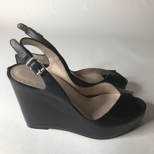 BCBG Tashaa Black Leather Wedge Heels Women's 9B